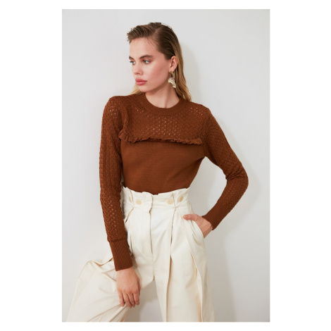 Trendyol Brown Blindk Edifty-Knit Sweater