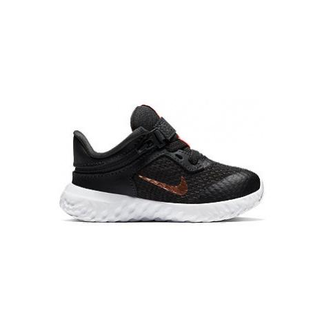 Čierne detské tenisky na suchý zips Nike Revolution 5 Flyease