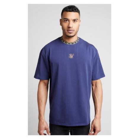 SIK SILK Pánske tričko SikSilk S/S Tape Collar modré
