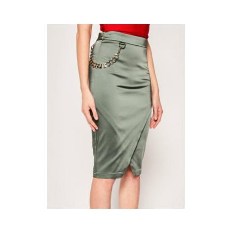 Marciano Guess Puzdrová sukňa Fuego Satin 02G701 9272Z Zelená Slim Fit