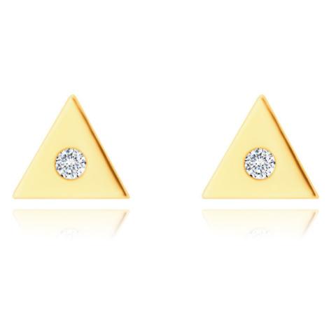 Diamantové 14K náušnice zo žltého zlata - malý trojuholník s čírym briliantom