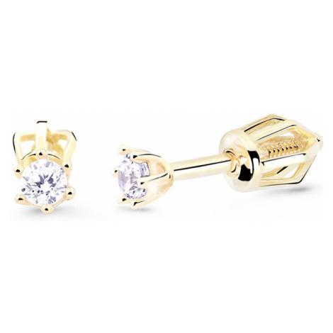 Cutie Diamonds Nežné kôstkové náušnice zo žltého zlata s briliantmi DZ8020-30-00-X-1 Cutie Jewellery