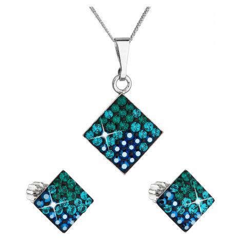 Sada šperkov s krištálmi Swarovski náušnice, retiazka a prívesok zelený kosoštvorec 39126.3 magi