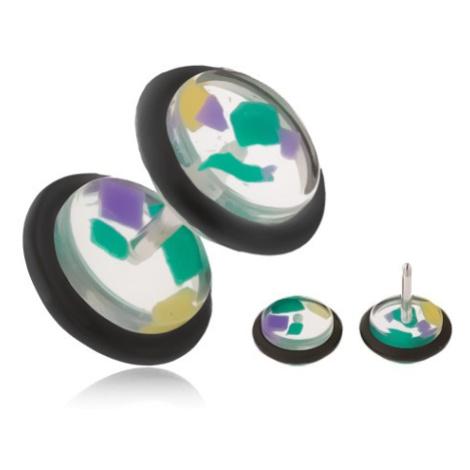 Falošný piercing do ucha, číre akrylové kolieska, farebné úlomky