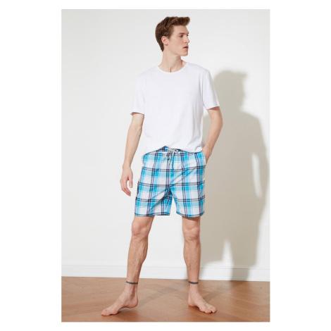 Trendyol Blue Plaid Woven Shorts & Bermuda