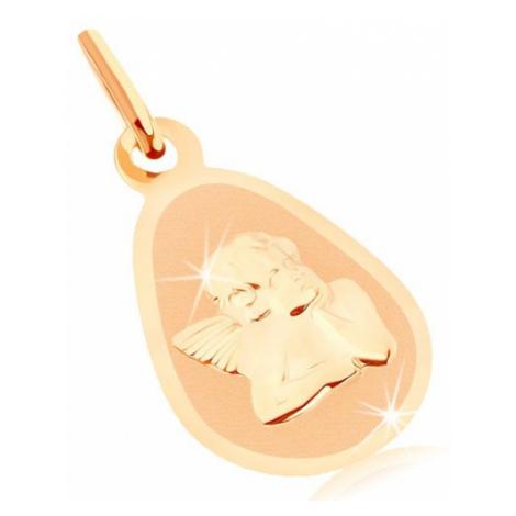 Zlatý prívesok 375 - matný plochý medailón, zaoblená slza, lesklý anjelik