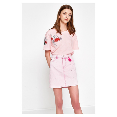 Koton Women's Pink Normal Waist Slim Fit Skirt