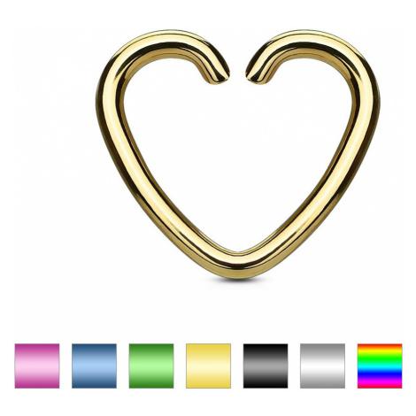Falošný piercing do ucha z titánu - farebné srdce - Farba piercing: Zlatá