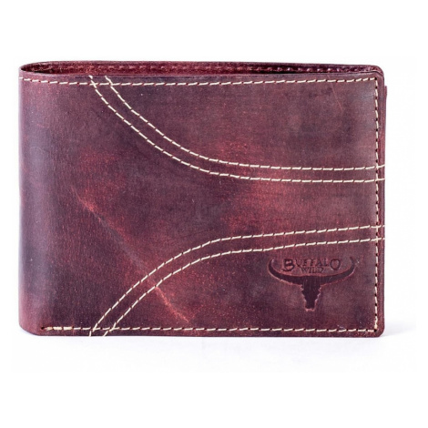 Leather wallet with brown stitching