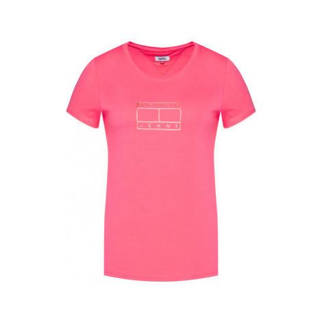 Tommy Jeans Tričko Metallic Outline Flag Tee DW0DW08473 Ružová Regular Fit Tommy Hilfiger