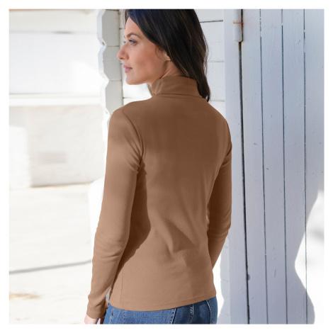 Blancheporte Jednofarebné tričko s rolákom a dlhými dukávmi oriešková