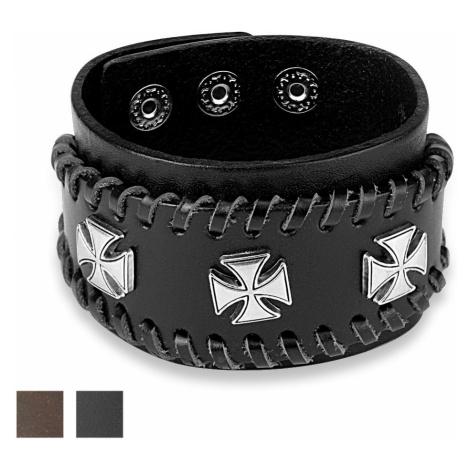 Vybíjaný kožený náramok - Maltézsky kríž striebornej farby - Farba: Hnedá