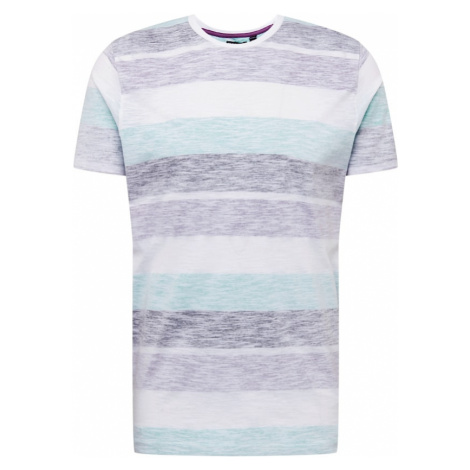 BRAVE SOUL Tričko 'RANGEX'  biela / modrá melírovaná / fialová melírovaná / béžová melírovaná