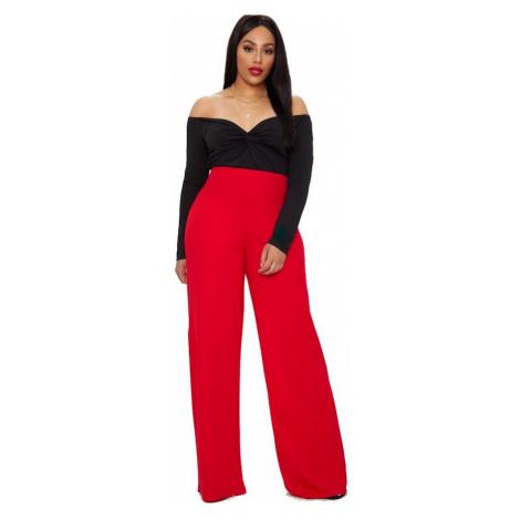 Červené nohavice s vysokým pásom PrettyLittleThing