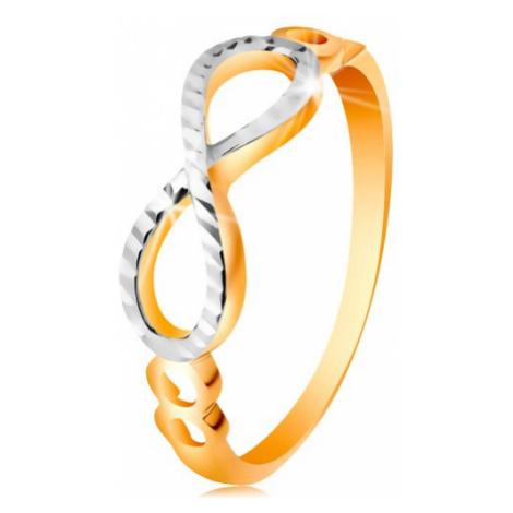Zlatý prsteň 585 - symbol nekonečna zdobený bielym zlatom a zárezmi - Veľkosť: 58 mm