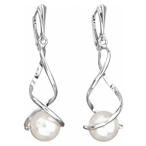 Strieborné náušnice visiace s perlou Swarovski biele okrúhle 31224.1
