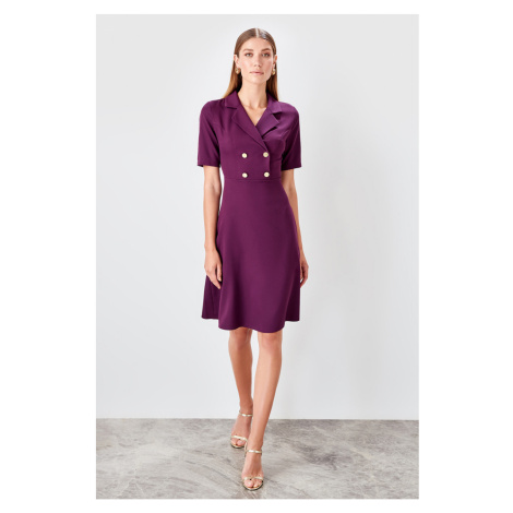 Trendyol Damson button Detailed dress Violet