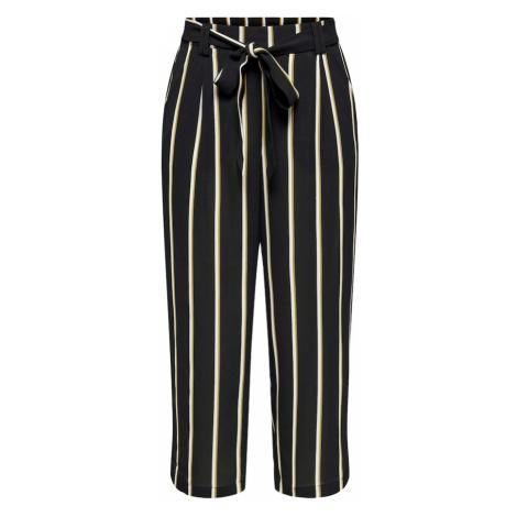 ONLY Plisované nohavice 'Winner'  čierna / biela / žltá