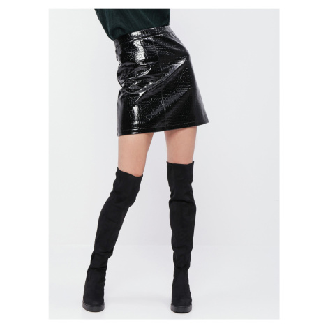Čierna koženková sukňa s krokodýlím vzorom Dorothy Perkins