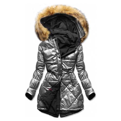 MODOVO Dámska bunda strieborno-čierna