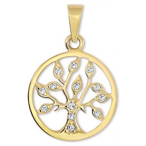 Brilio Zlatý prívesok Strom života s kryštálmi 001