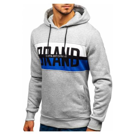 """Pánská mikina """"BRAND"""" s kapucí KS1803 - šedá, DStreet"""