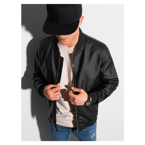 Ombre Clothing Men's leather bomber jacket C484