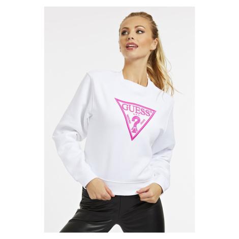Guess biela mikina Embroidery Triangle Logo s logom