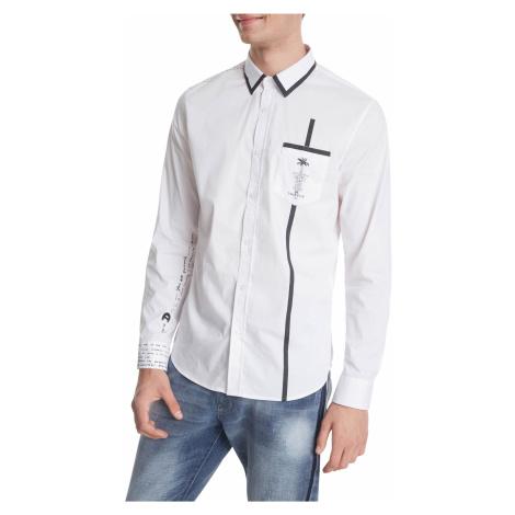 Desigual biela pánska košeľa Cam Saniel s vrecúškom