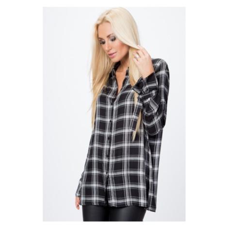 Oversize, károvaná košeľa s dlhým rukávom, WHITE/BLACK FASARDI