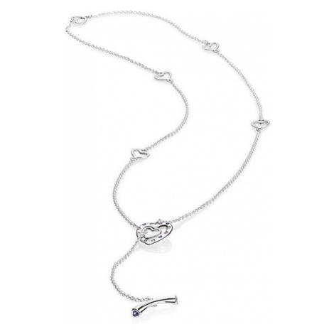 Pandora Strieborný náhrdelník Žiarivá srdce 397756NRPMX-55