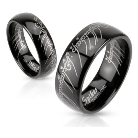 Čierna oceľová obrúčka s motívom Pána prsteňov - Veľkosť: 51 mm