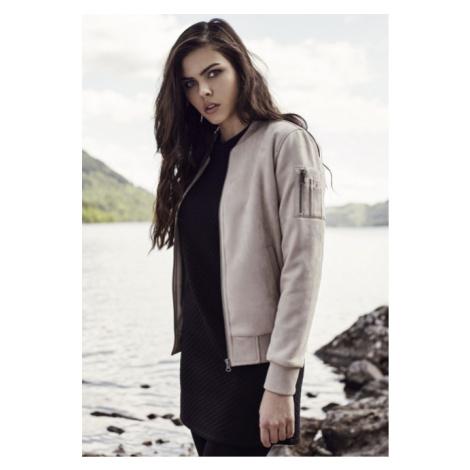 Urban Classics Ladies Imitation Suede Bomber Jacket taupe - Veľkosť:S
