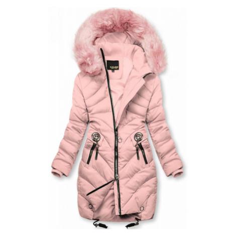 Ružová zimná bunda s umelou kožušinou