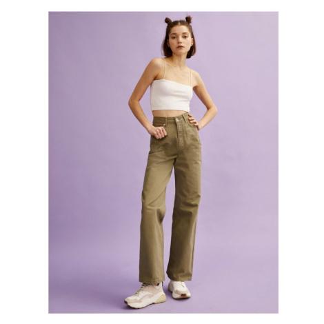 Koton Women's Green Wide Leg Cotton Jean Trousers