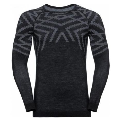 Odlo SUW MEN'S TOP L/S CREW NECK NATURAL+ KINSHIP WARM tmavo šedá - Pánske tričko