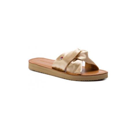 TOMMY HILFIGER Šľapky Satin Elevated Beach Sandal FW0FW04014 Zlatá