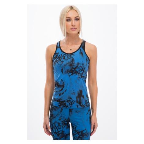 Trendy, modrý fitness top s čiernymi vzormi FASARDI