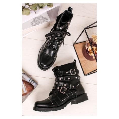Čierne šnurovacie členkové topánky Charlotte Sergio Todzi