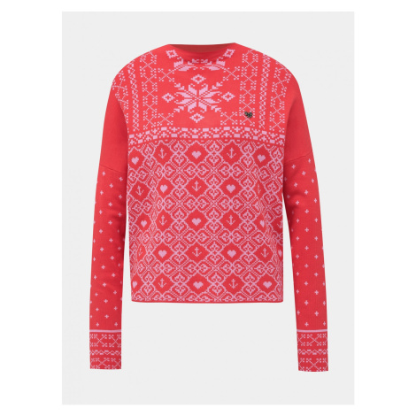 Blutsgeschwister Norwegian Polar Lights Red Patterned Sweater