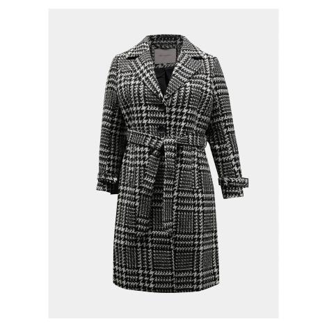 Bielo-čierny kockovaný kabát ONLY CARMAKOMA