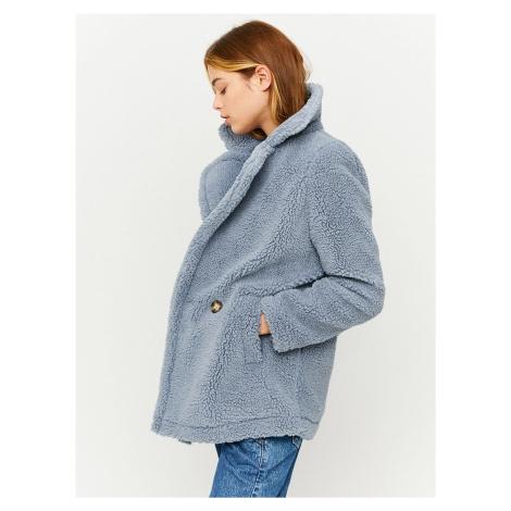 Modrý krátky kabát z umelého kožúšku TALLY WEiJL
