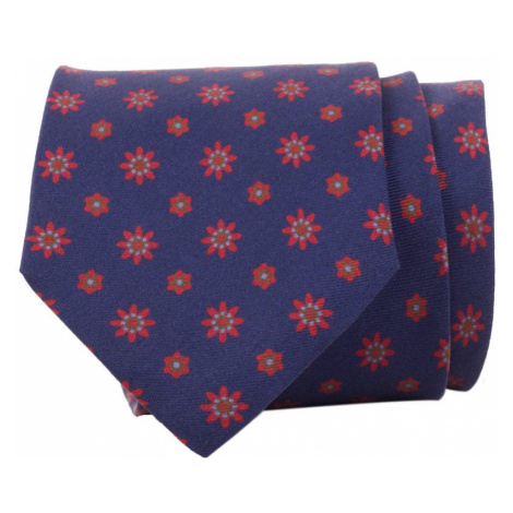 John & Paul Tmavomodrá kravata s červenými kvetinkami a kvetmi John & Paul