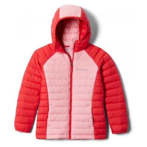 Columbia POWDER LITE GIRLS HOODED JACKET červená - Detská bunda