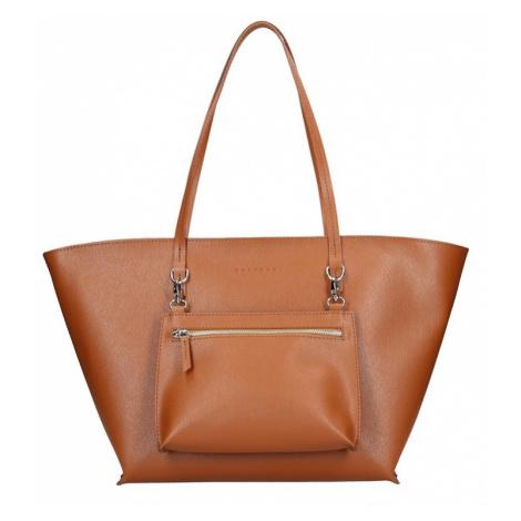 Dámska kožená kabelka Facebag 2v1 - hnedá