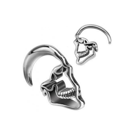 Expander do ucha z 316L ocele - kontúra lebky s lesklým povrchom - Hrúbka: 8 mm