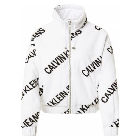 Calvin Klein Jeans Flisová bunda  biela / čierna
