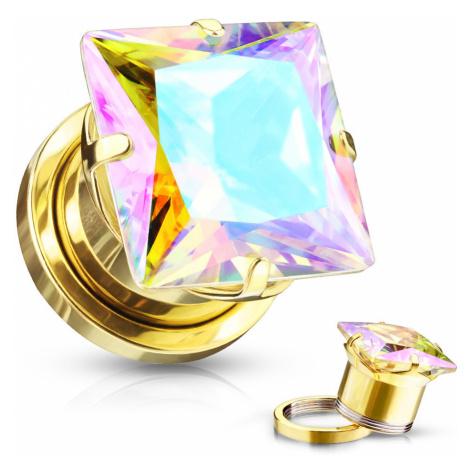 Plug do ucha z chirurgickej ocele - štvorcový zirkón s dúhovými odleskami, zlatá farba, PVD - Hr