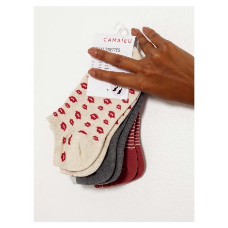 Sada troch párov ponožiek v ružovej, šedej a červenej farbe Camaieu