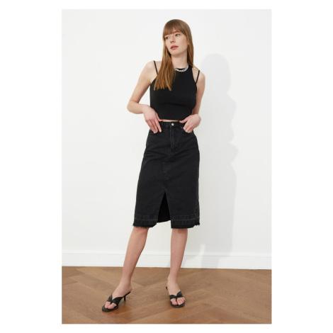 Trendyol Midi Denim Skirt WITH Black Hem Tassel sniped Skirt